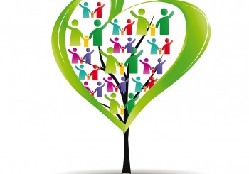 16135918 - abstract and colorful figures showing happy peoples and tree with heart
